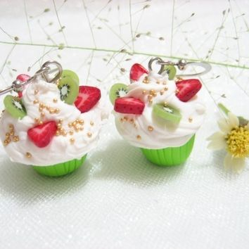 Strawberry Kiwi Cupcake Earrings