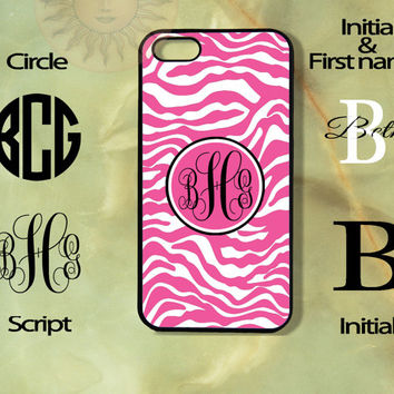 Monogram Pink Zebra Print Pattern-iPhone 5, 5s, 5c, 4s, 4 case, Ipod touch 5, Samsung GS3, GS4 case-Silicone Rubber or Hard Plas