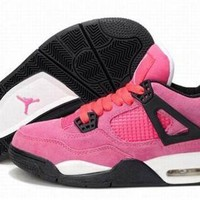 Hot Air Jordan 4 IV Retro Fur Women Shoes Pink