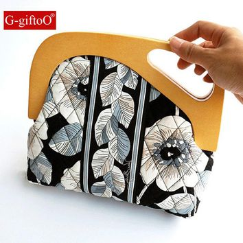 Floral Printing Shoulder Bag Retro Vintage Antique Clutch Bag Leather Strap Wood Frame Funky Bag