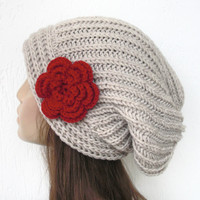 Hand Knit Hat- Womens hat -  Slouchy Beanie Hat Fall Autumn Winter Accessories knitted beret  beige hat  with red flower