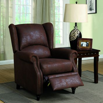 Jethra Transitional Vinyl-Like Wingback Push Recliner Chair, Brown