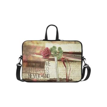 Personalized Laptop Shoulder Bag True Love Stories Never End With Vintage Red Rose Macbook Air 15.6 Inch