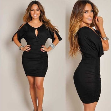 Fashion Women Slit Design Round Neck Black Bodycon Dress [8833518412]