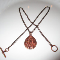 Copper Filigree Diffuser Necklace Essential Oil Aromatherapy Necklace made from Copper Filigree Pendant on Copper Chain with Toggle Closure