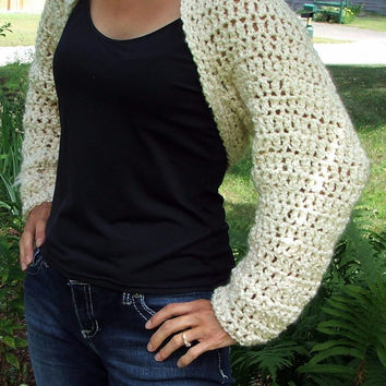 Crochet Long Sleeve Shrug. Soft White. Winter Top. Made by Bead G's on ETSY. Bolero. White. Sweater. Autumn Sweater. Fall Shirt.