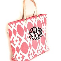 MONOGRAMMED HAILEY PATTERNED LARGE JUTE TOTE-PINK