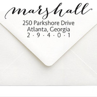 Personalized Address Stamp - Custom Self Inking Return Address Stamp - Wedding Gift Last Name - Calligraphy Stationery Stamp Personalized