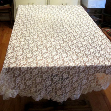 "Vintage Lace Tablecloth , Ecru Lace Overlay Tablecloth , Oval Lace Tablecloth , Dressy Lace Tablecloth Ruffle Edge 84"" x 64"" Table Linen"