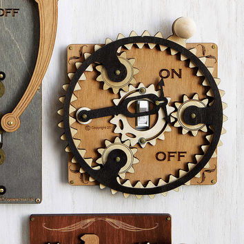 Planet Gear Switch Plate | Laser Cut Steampunk Light Switch Covers