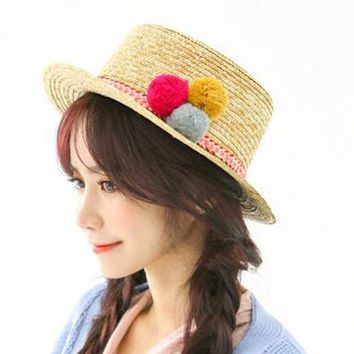 LMF78W 2016 Sell Like Hot Cakes Sun Hats For Women Three Color Ball Fashion Summer Beach Beige Hat 1 pcs Free shipping