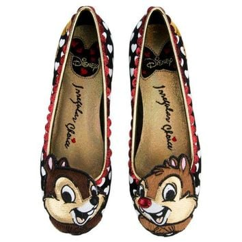 DCCKLP2 Irregular Choice Mickey Mouse & Friends Collection Women's Chip N Dale Black Flats