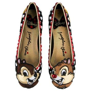 ONETOW Irregular Choice Mickey Mouse & Friends Collection Women's Chip N Dale Black Flats