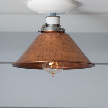 Copper Metal Shade Light - Semi Flush Mount Lamp