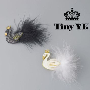 Glitter White/Black Swan Hair Clips with Gold Crown Barrette with feather Princess Hairpins Baby Children Kids Hair Accessories
