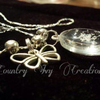 Shaped Glass Real Preserved Snowflake Necklace, butterfly, tin heart