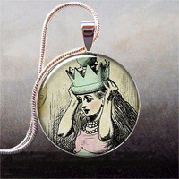 Queen Alice art pendant resin pendant photo by thependantemporium