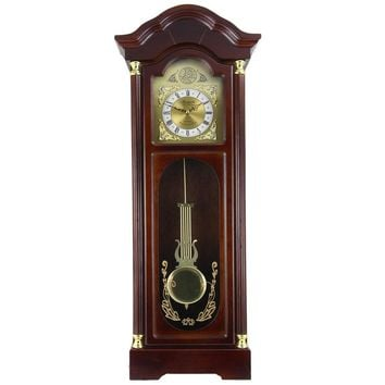 Bedford Clock Collection 33 Antique Cherry Oak Finish Chiming Wall Clock with Roman Numerals