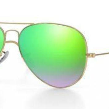 RAY BAN 3025 62 AVIATOR POLISHED GOLD CUSTOMIZED REMIX GREEN MIRROR GRADIENT