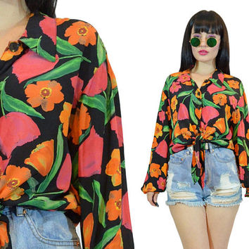 vintage 90s floral crop top ultra draped peasant blouse billowy shirt tie front boho hippie 1990s cute romantic summer long sleeved gypsy M