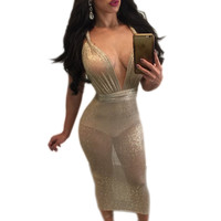 Gold Lace Up Glitter Mesh Midi Women Long Dress Slim Deep V Neck Sleevelss Backless Bodycon Vestidos Sexy Club Party Shiny Dress