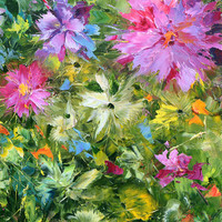 Summer afternoon. High Quality Print on Canvas, Dmitry Spiros, living room decor wall art, home decor, flowers painting.