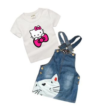 0-6 Years Baby Girls Denim Dress Summer Latest Toddler Girls Clothing Set for Kids Boutique Children Clothing Hello Kitty Z28