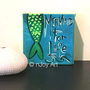 Mermaid for Life, Daily Doodle 4x4 inch Miniature acrylic canvas art