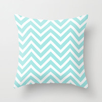 Velveteen Aqua Chevron Pillow - Aqua Throw Pillow - Housewares - Home Decor - Housewarming Gift - Girls Room Decor - Teen Room Decor