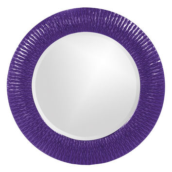 "Howard Elliott Bergman Royal Purple Small Round Mirror 32"" Diameter x 1"""