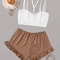 Cami Top With Ruffle Shorts Lingerie Set