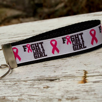 Fight like a girl breast cancer awareness key fob wristlet style keychain