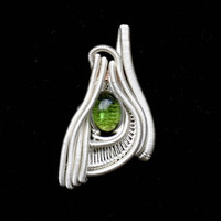 Pendant Sterling Silver Tourmaline Wire Wrapped Handmade Jewelry