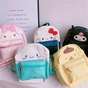 Cartoon anime My Melody Hello Kitty Big Ears Cinnamoroll dog fashion backpack PU For  children Gift