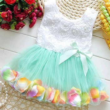 Summer Kids Baby Girls Beautiful Petal Princess Dress Party Cute Tutu Lace Bow Tulle Girl Dresses Vestidos