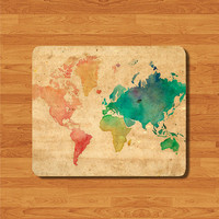 Watercolor Vintage Old  Style Map Mouse Pad Color Atlas Deco Photography MousePad Work Pad Mat Rectangle Personal Christmas Gift Parchment