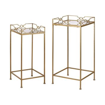 Bow Tie Mirrored Tables Gold Leaf,Mirror