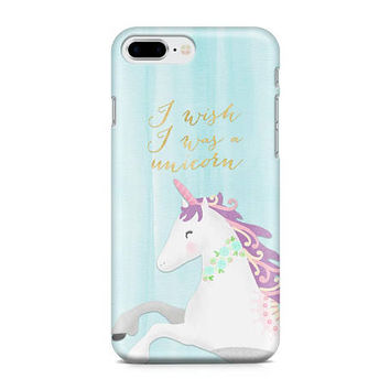 I Wish I Was a Unicorn, Unicorn Phone Case, Mythical Creatures Phone Case, Trendy Phone Case, iPhone 8, Samsung Galaxy S8