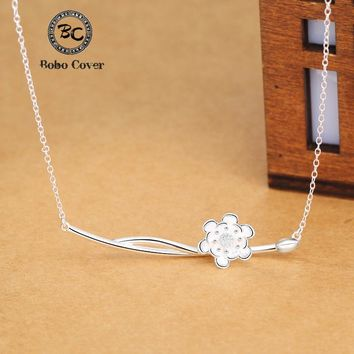 Bobo Cover Silver Plated Peony Flower necklaces & pendants women Simple style statement Lotus necklace Chinese Elements Bijoux
