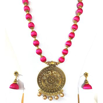 Silk Thread antique gold Peacock Pendant Long chain Necklace and rose flower stud Jhumka Earring Set