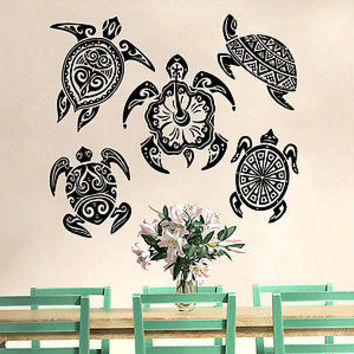 Turtle Wall Decal Sea Turtle Ocean Nautical Decor Vinyl Sticker Decals C554