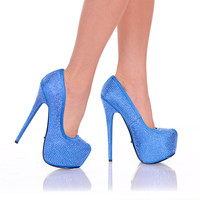 Blue Satin Rhinestone Pump