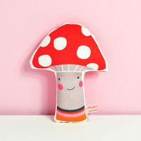 "fabric baby rattle ""Mr Mushroom"" - in red"