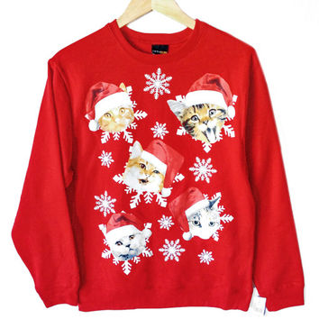 Kitties in Santa Hats Crazy Cat Dude Ugly Christmas Sweatshirt