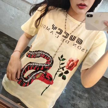 """""""Gucci"""" Women Casual Fashion Personality Flower Snake Letter Print Short Sleeve T-shirt Top Tee"""