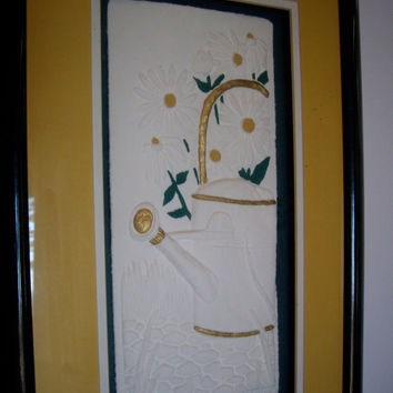 Vintage Sunflower embossed art framed triple matted elegant home decora 1990 cij use code: jp2012 for 15% off.