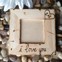 Personalized Frame with Carved Initials and I Love You - Rustic Wedding Anniversary Engagement Gift Boyfriend Girlfriend
