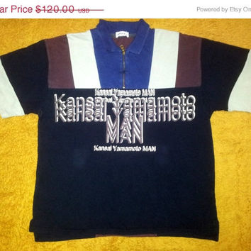 ON SALE Rare KANSAI Yamamoto Man Polo Shirt Stripe Zipper Size Xl