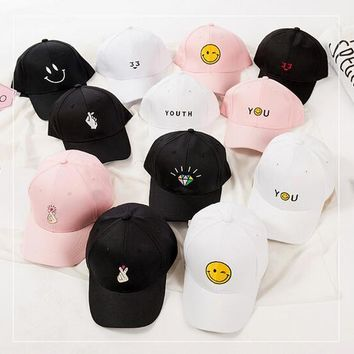 korean Female baseball cap harajuku hats summer pink Dad Hat white polo caps 2017 girls youth caps baseball hats for women style