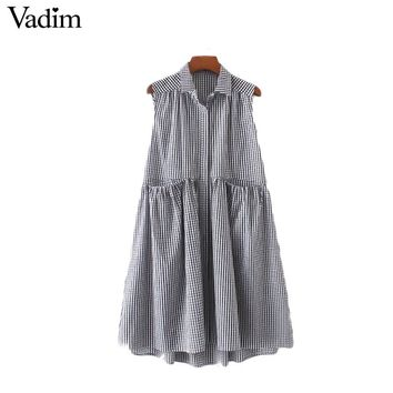Pleated plaid loose dress checkered pockets sleeveless cute vintage casual sweet dresses